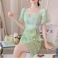 Mint cutting flower lace dress(No.302313)