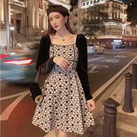 Square neck lady fleur dress(No.030932)