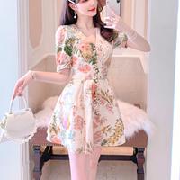 Spring flower mini dress(No.301082)