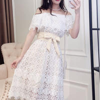 一部即納♡Dream lace off-shoulder long dress(No.300646)