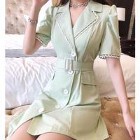 Puff sleeve asymmetry coat dress(No.301313)【black , mint】
