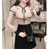 Dot lace docking tweed dress(No.300865)【3color】