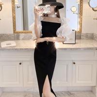 Drop shoulder lady long dress(No.301153)