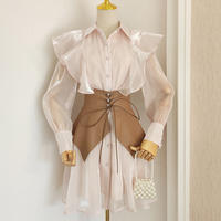 Baby pink satin shirt belted dress(No.031023)