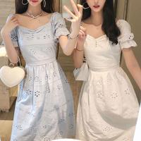Natural flower lace midi dress(No.301105)【2color】