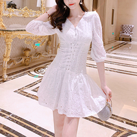 Cotton lace waist ribbon dress(No.301062)