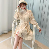 Creamy latte lace dress(No.301563)