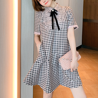 Lady pink gingham check dress(No.301543)