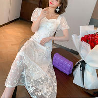 Bijou button flower lace long dress(No.301318)