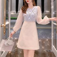Pearl bijou design tulle sleeve dress(No.301506)