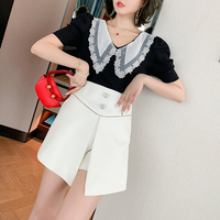Big lacy collar tops & pants setup(No.301404)