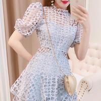 Puff sleeve blue classic dress(No.300702)