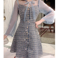 Mix blue tweed dress(No.300787)