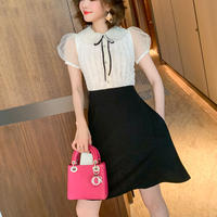 Monotone scallop collar ribbon dress(No.301229)