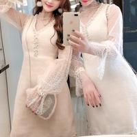 Pearl line moco touch dress & blouse set(No.300877)【2color】