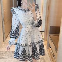 Lady emboss chiffon flare dress(No.301883)