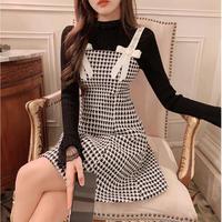 Double heart chidori tweed dress(No.030953)