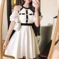 Monotone point shoulder dress(No.301307)【black , white】