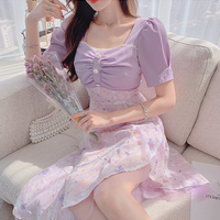 Romantic purple asymmetry midi dress(No.302262)