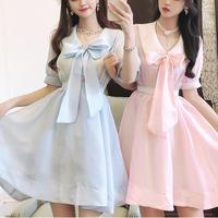 Bijou button organdy lace dress(No.301314)【white , blue , pink】