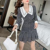Mono pattern fabric pleats dress(No.301663)