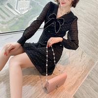 Bijou line ribbon black dress(No.301564)