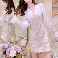 Bijou button flower lace dress(No.301010)