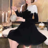 Sensual lacy two tone dress(No.300885)