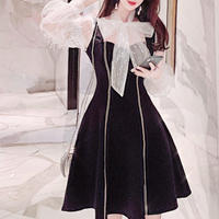 Tulle ribbon simple black dress(No.300840)【2color】