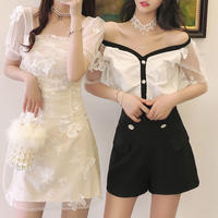 Butterfly lacy two way shoulder setup(No.301296)【black , white】