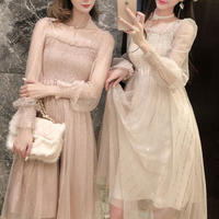 Back ribbon tulle long dress(No.301020)【3color】