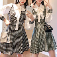 Chidori check tweed blouse set(No.300749)【black , green】
