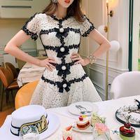 Ribbon brooch mono lace dress(No.301152)