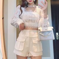 Puff sleeve lace blouse & short pants(No.301522)