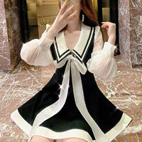 A-line long ribbon tie dress(No.301027)