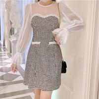 Chidori tweed docking dress(No.300809)