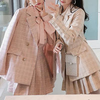一部即納♡spring check jacket & skirt set(No.300594)