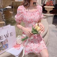 Garden pink mermaid shirring dress(No.302239)