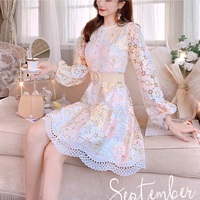 Dreamy cutting flower lace dress(No.301587)