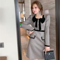 Chidori check puff sleeve dress(No.031020)