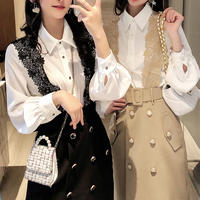 Lace shoulder skirt & blouse set(No.301070)【2color】