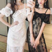 Sensual lacy off shoulder midi dress(No.301385)【2color】