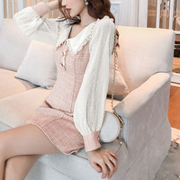 Frill collar lady tweed dress(No.300713)【Pink , Mint】