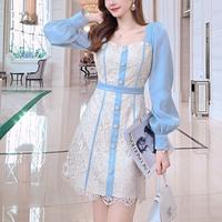 Two tone elegant flower lace dress(No.301516)