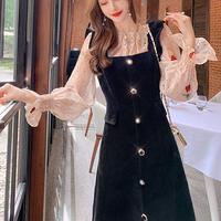 Rosy blouse & velour midi dress(No.301724)