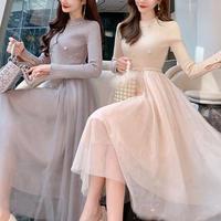 Pearl belt long tulle dress(No.300912)【3color】