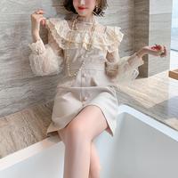 Ruffle frill docking one tone dress(No.301566)【black , cream】