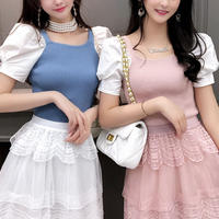 Alice puff sleeve knit & skirt set(No.301075)【4color】