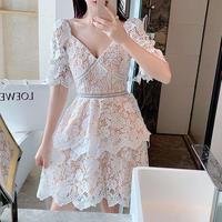 Décolleté line cutting lace dress(No.301429)【red , white】