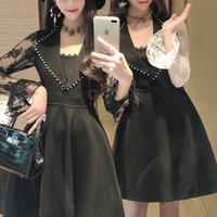 Lacy sleeve monotone dress(No.301059)【2color】